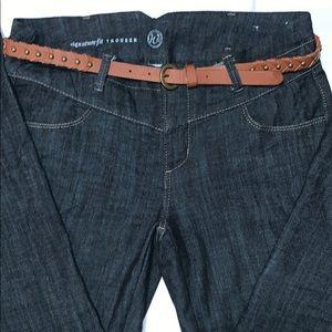 Signature Fit Denim Trouser W/Brown Braided Belt
